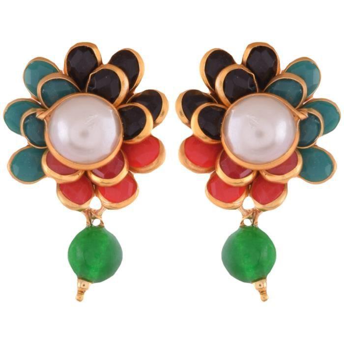 Femmes Multicolor cuivre Pendentif Earing Set PourY5XGC