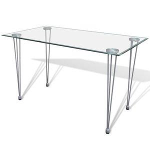 TABLE À MANGER SEULE Table à manger en verre metal chrome Noel