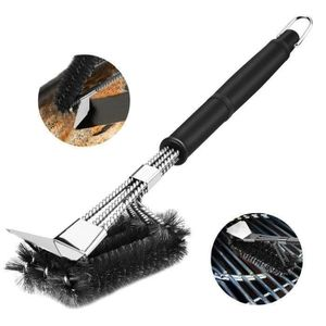 BARBECUE Brosse pour barbecue inox tissée fil 3 en 1 Grill