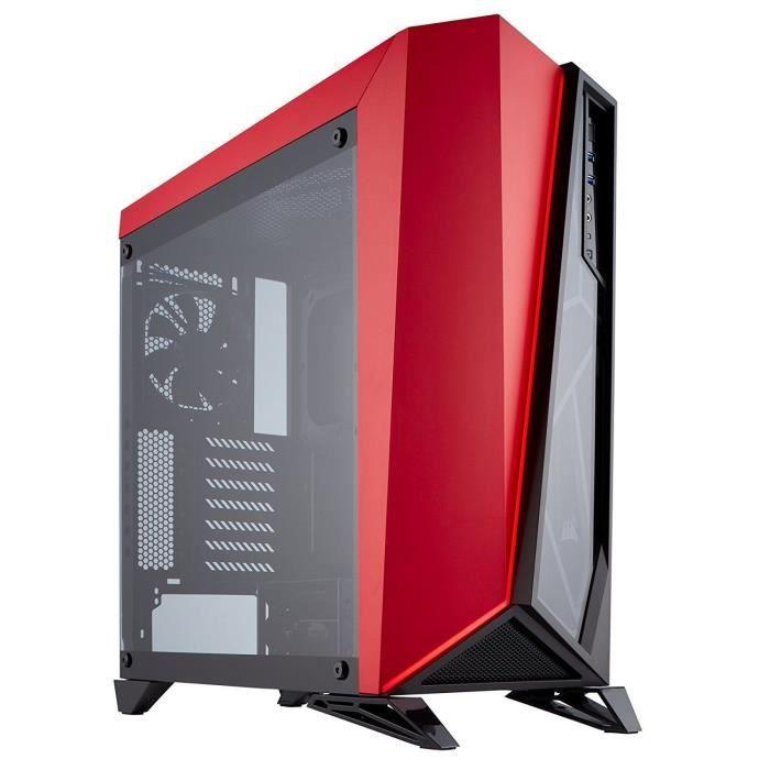 CORSAIR Boitier Moyen Tour Spec Omega - Noir et Rouge - Fenêtre en Verre Trempé (CC 9011120 WW)