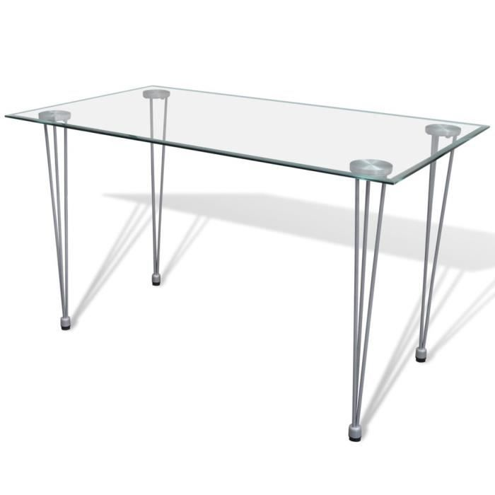 Table a manger verre et chromee - Achat   Vente pas cher f354168c4750
