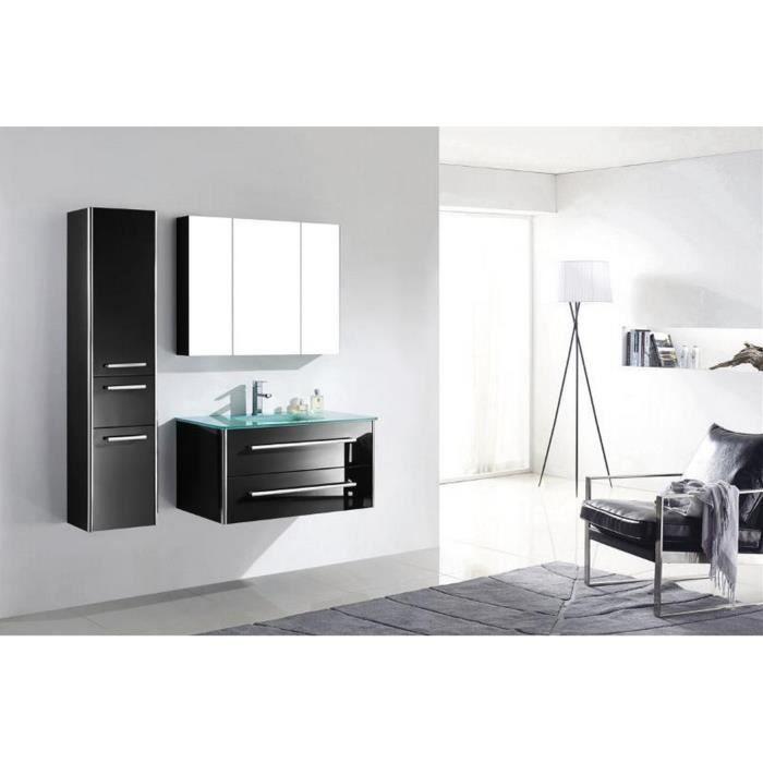 Meuble salle de bain bois massif noir laqu brillant une vasque en verre et colonne 88 cm lia - Meuble salle de bain en bois massif ...