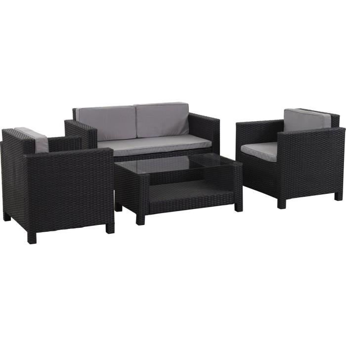 salon de jardin r sine tress e ottawa atlanta noir achat vente salon de jardin salon de. Black Bedroom Furniture Sets. Home Design Ideas