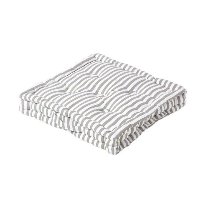coussin de sol gris - fines rayures - 40 x 40 cm - achat / vente