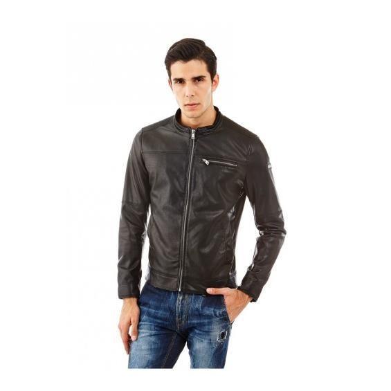 Guess Style Blouson Biker Noir Couleur Iconique 8Swq6wA