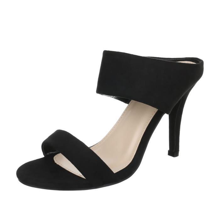 femme sandalette chaussure escarpin Chaussures de soirée Élégant Fête Club High-Heel Peep-toe noir