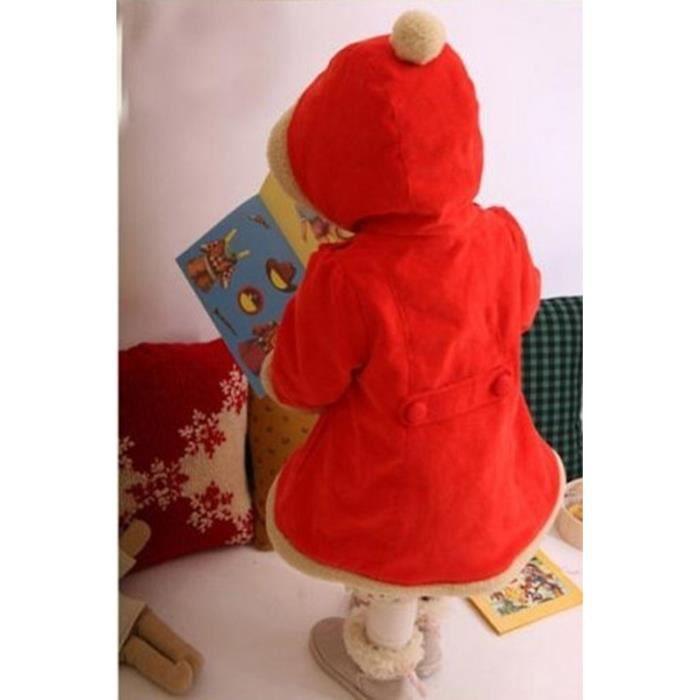 Fille Manteau à Capuchon Tenue Hiver Noël Veste à Capuche Rouge ... 6b743bc487d6