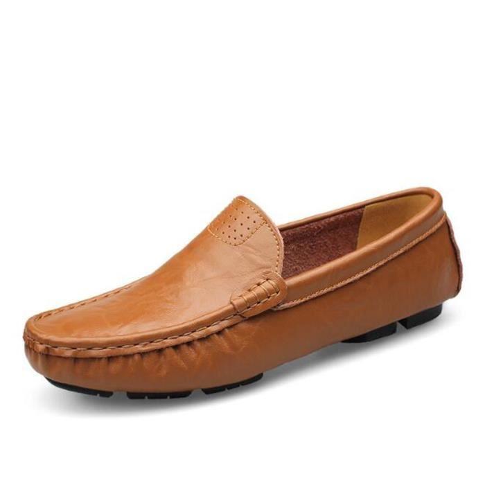 Antidérapant hommes Marque Travail ete Supérieure Taille la De De Qualité Cuir 2017 à Luxe main Grande En chaussure Moccasin a1xwqdEz1