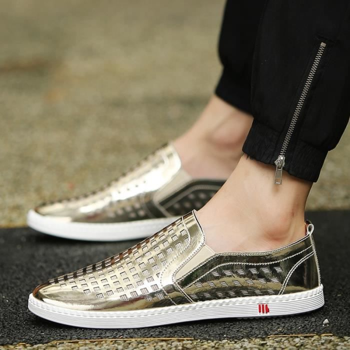 Véritable Mocassins Chaussures en cuir d'homme pour hommes respirants Mocassins Slip Male Auto Chaussures Casual Chaussures de VYl1qGuV