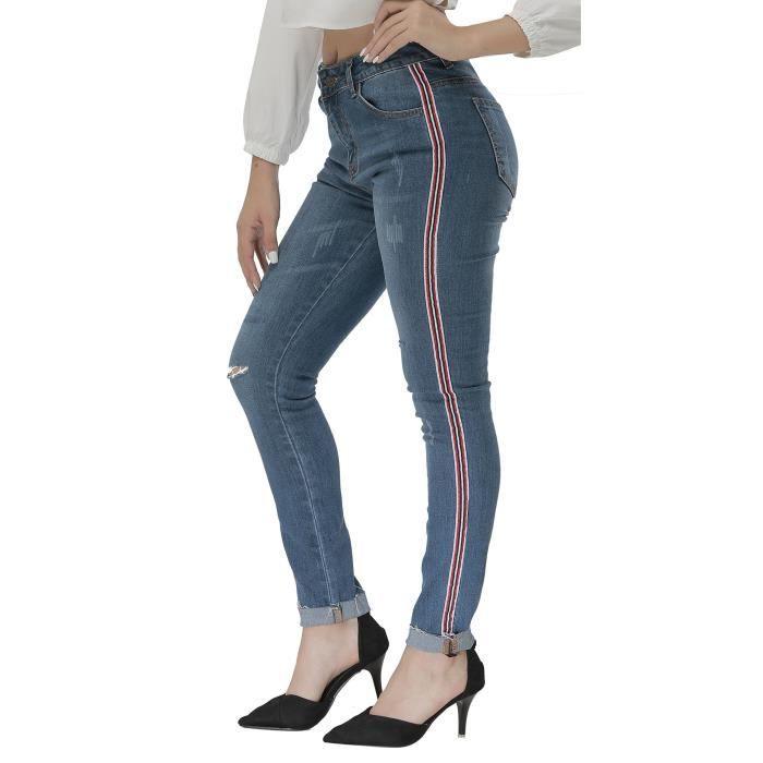 Fit Rebond Super Minceur Haute Denim Taille Stretch Skinny Femme EwqqaTfcWI