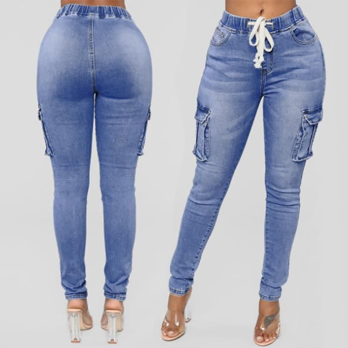 Yfc721 Pantalons Slim Fashion Waisted Jeans Stretch Hight Daily Denim Femmes Longueur zSVpGqUM