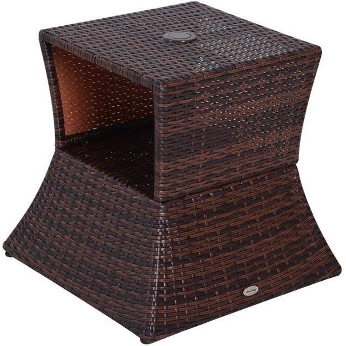 En De Basse Étagère Dim54l Table Pied X 55h Tressée Parasol Intégrée Marron 2 Résine Rotin Inférieur Pe 1 Cm Imitation L35ARj4