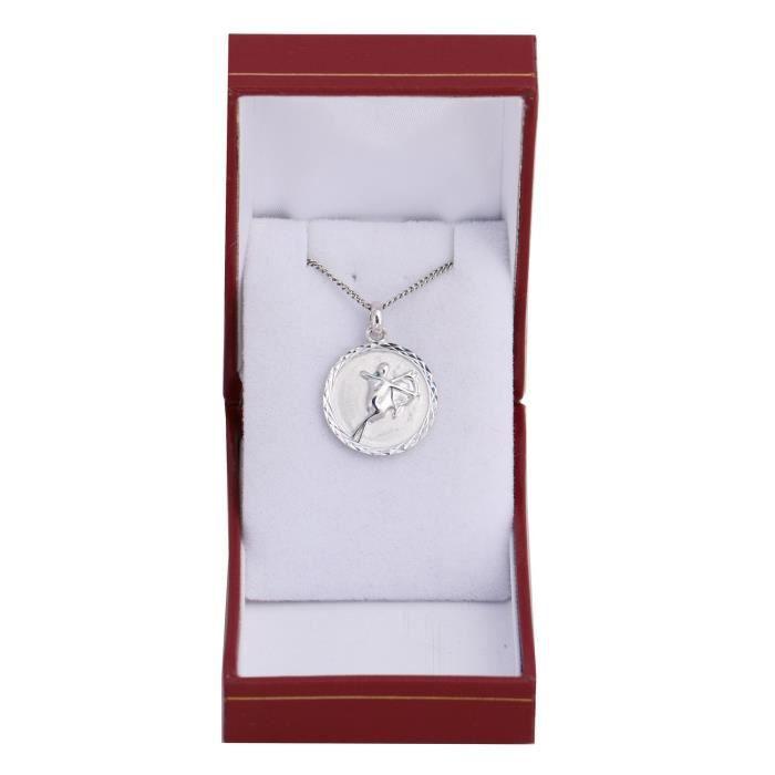 Pendentif médaille zodiac SAGITTAIRE en argent massif 925 rodhié Gravure au dos gratuite avec chaine et boite incluse