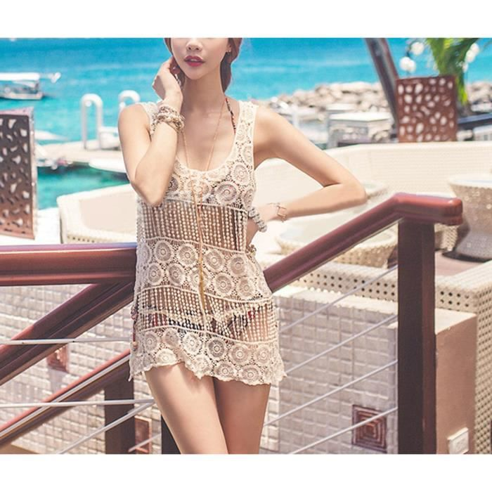 Robe de plage-caftan-débardeur courte femme col U dentelle coton crochet sexy cover up d'été summer beach bohême g…