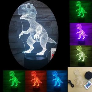 LAMPE A POSER 3D illusion lampe LED dinosaure 7 couleur led ampo