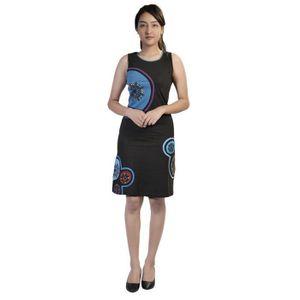 63d83ba3f43ddf ROBE Robe sans manches noire et bleue pour femme avec b