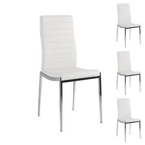 CHAISE Quatuor De Chaises Eco Cuir Blanc