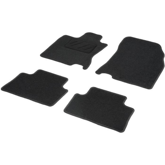 Tapis sur mesure 4 pièces, moquette aiguilleté velours, talonnette thermosoudée, surjet de finition noirTAPIS DE SOL