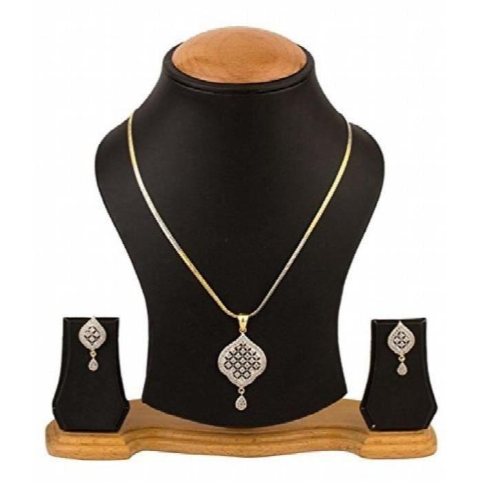 Designer Antique femmes Kundan Ensemble pendentif avec chaîne et boucles doreilles et bijoux pourLSRSF