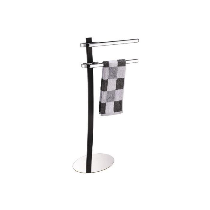 PORTE SERVIETTE Porte serviettes sur pied noir-chrome ref.141515