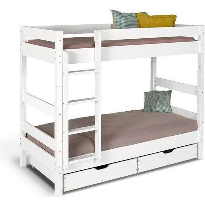 lit superpos avec rangement 90x190 bois massif blanc - Lit Superpose Avec Rangement