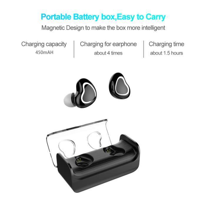 CASQUE - ÉCOUTEURS Écouteurs Bluetooth 5.0 Touch Control sport invisi