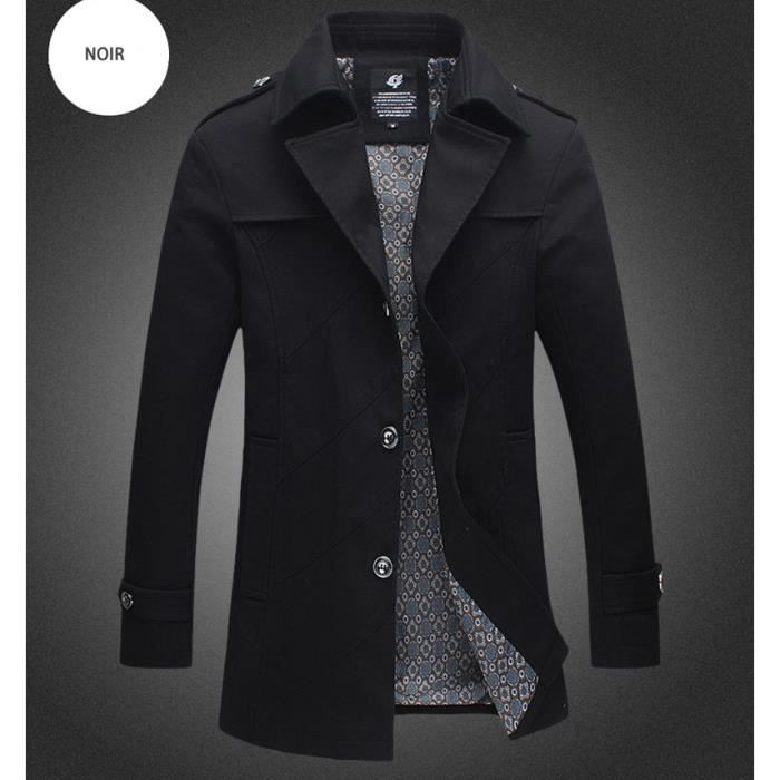 Trench Coat Homme Kaki Marque Slim Fit Veste Longue Moyen