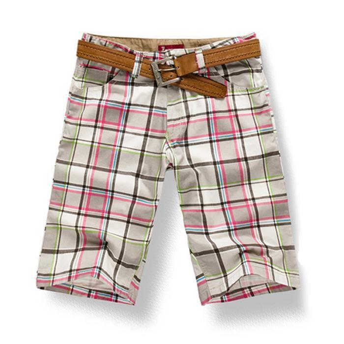 site web pour réduction info pour magasin discount Bermuda Homme A Carreaux Hommes Coton Loisir,Rouge,50