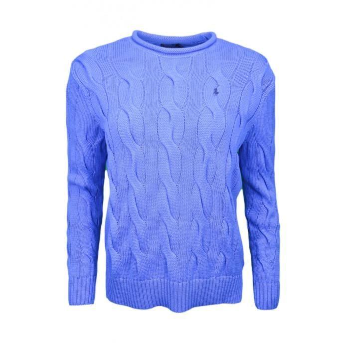 Pull col rond roulotté Ralph Lauren torsadé bleu pour homme - Taille  L -  Couleur  Bleu 99e9e3dca8c