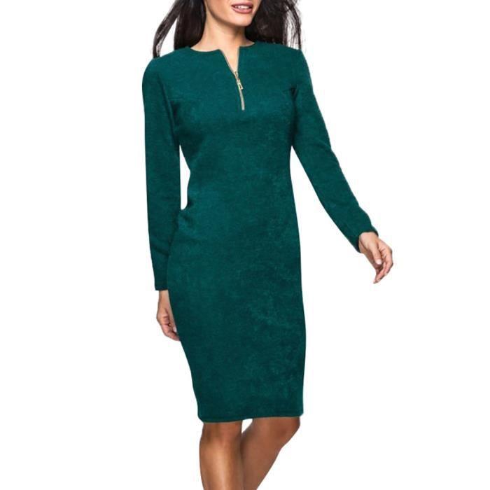 Napoulen®Femmes O cou zip Casual Solid long manches robe de soirée en vrac VERT-MJJ71108291GN