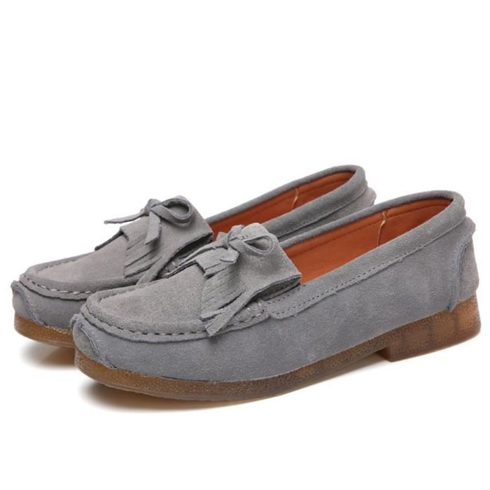 Casual Loafers Suede Leather Moccasins Comfort Driving Shoes Flat Slip-on Slippers XH98A Taille-41 IcGmdto