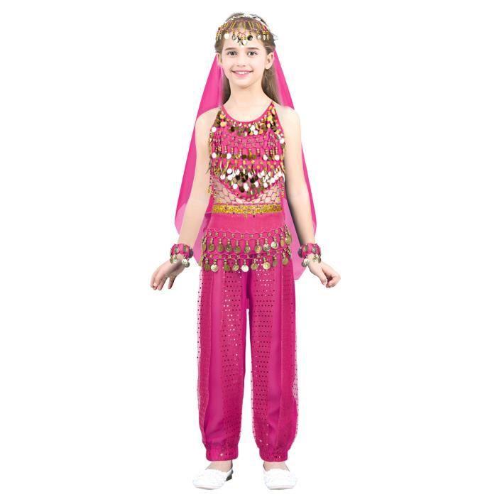 3e1bcce84ae80 Jupe de Danse Inde Fille Enfant - Robe de Danse Orientale Satin Vêtements  de Danse Paillettes Costume Carnaval Fête Performance
