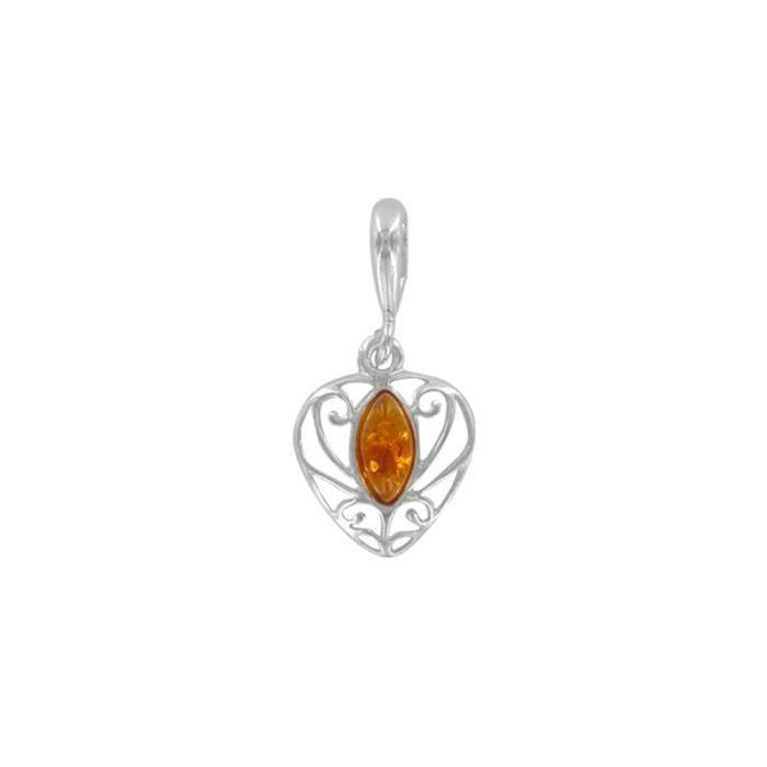 Nature dAmbre - Pendentif cœur ambre, argent 925-1000e