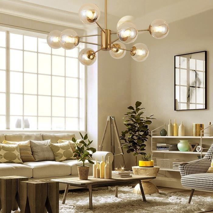 Lampe Suspendue Luminaire Salon Moderne En Cuivre Pur Simple Salle à Manger  étude Boule De Verre Lustre Modèle Pièce Créat - 262147