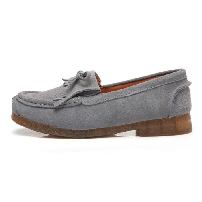 Casual Loafers Suede Leather Moccasins Comfort Driving Shoes Flat Slip-on Slippers XH98A Taille-41
