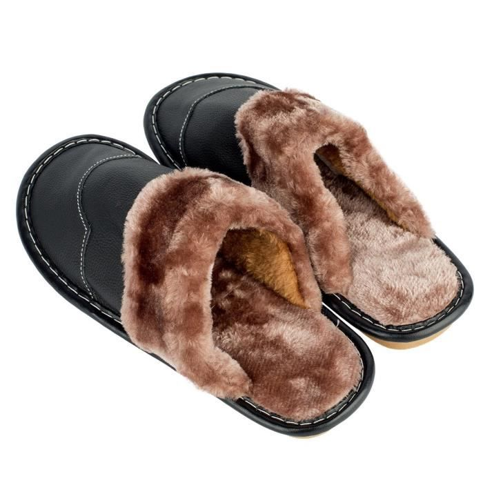 Winter Genuine Leather Slippers, Warm Faux Fur Lining Plush Mules Slipper, Closed Toe Open Back Hous RMP1W Taille-40 1-2