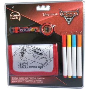 CARS Set portefeuille ? colorier + montre digitale - Pile LR41 - 12 x 7,5 cm
