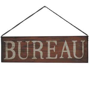 OBJET DÉCORATION MURALE Style Ancienne Plaque Murale Bureau Rouge 50 x 15