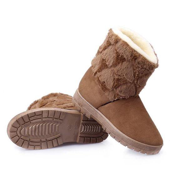 Femmes plat à lacets en fourrure doublée hiver Martin bottes de neige Bottines Kaki Vert Kaki - Achat / Vente botte