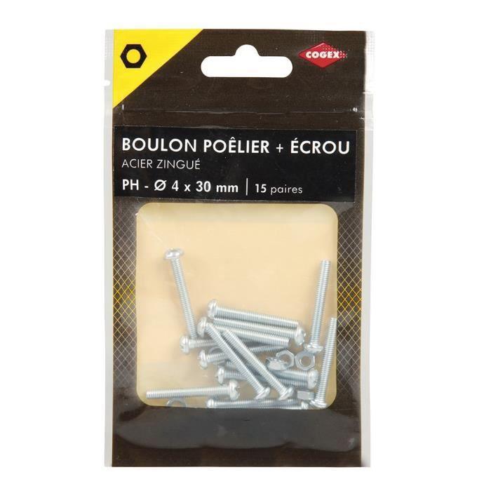 Cogex boulon pŒlier acier zingue ecrou hexagonal ph 4x30 mm 15 paires