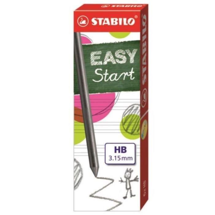 STABILO Étui de 6 Mines Graphite extra - Larges HB Easyergo 3.15