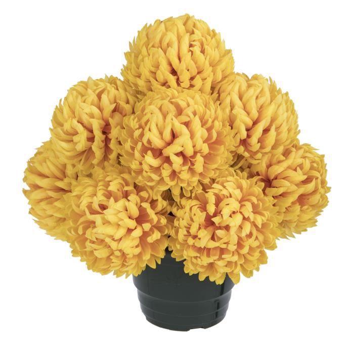 UNE FLEUR EN SOIE Pot de chrysanthèmes boules feu - 36 cm