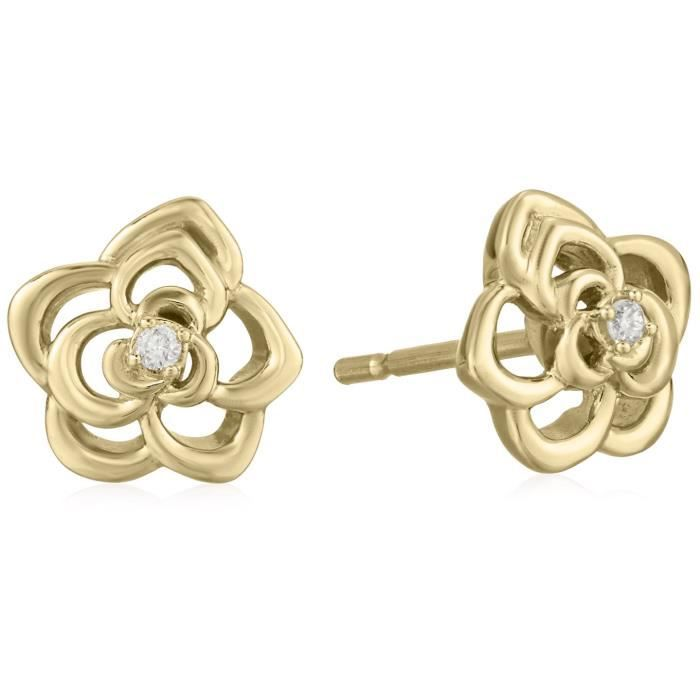 Craze 14k Yellow Gold Flower Shaped Diamond Accent Stud Earrings EIKHG