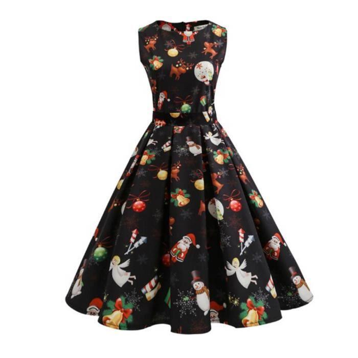Les femmes de Noël imprimer pin up Swing partie robe de panneau de dentelleLNP71025364BKL