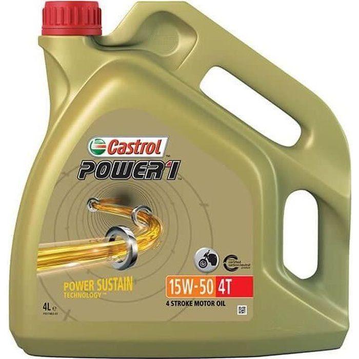 HUILE MOTEUR CASTROL Huile moteur Power 1 4T 15W-50 - 4 L