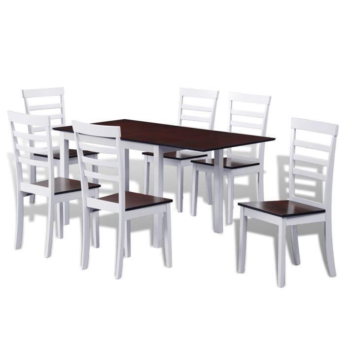 Ensemble Table à Manger 6 Chaises En Bois Massif Marronblanc