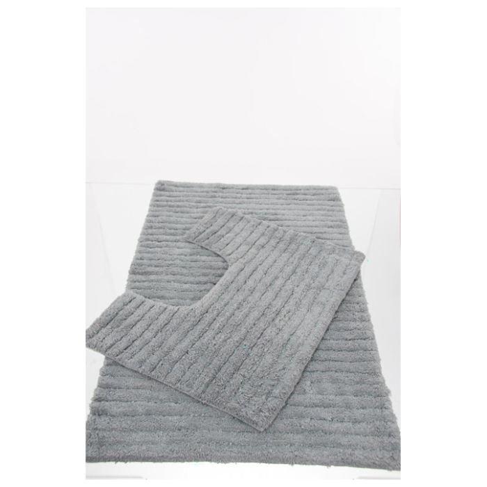 Tapis de salle de bain + contour wc gris - Achat / Vente tapis de ...