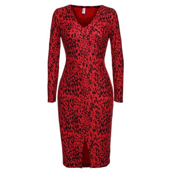 robe mince élastique manches longues leopard fe...
