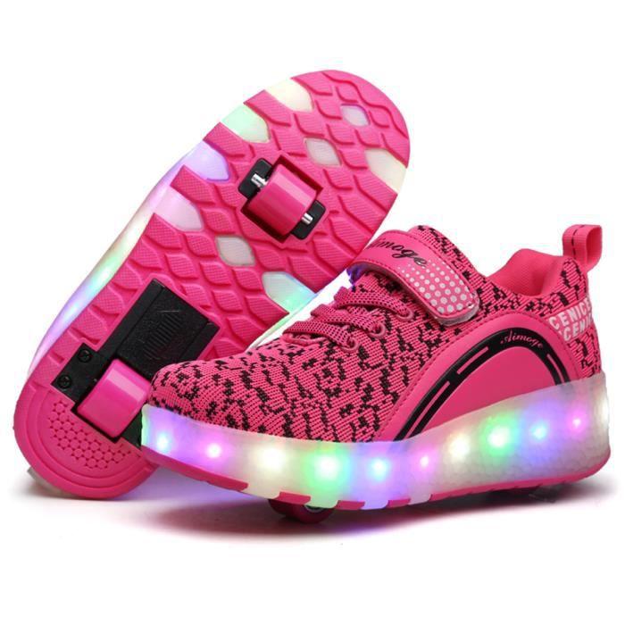 Nouveau Style Enfant Basket Flyknit Roulettes à Chaussures LED Lumière Chaussures Garçons Filles Sneakers Avec Un Roues DJlja