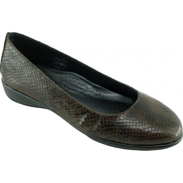 Dance lézard - Ballerine souple et flexible chaussures femme confortable pieds sensibles marque Aéro cuir marron